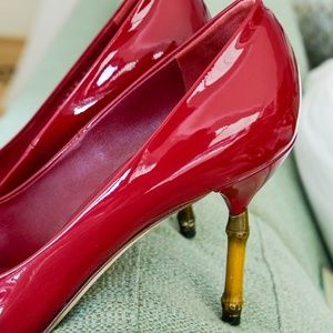 """Gucci Red Patent """"Kristen"""" Bamboo Shoes-Size 9"""